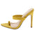 Frida140 Yellow Pointed Open Toe Slide on Stiletto Heel