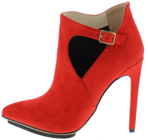 a2a177b2d2d6 Isabelle091 Red Side Buckle Cut Out Pointed Toe Stiletto Heel - Wholesale  Fashion Shoes