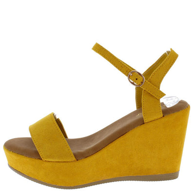 Luxy08s Marigold Open Toe Slingback Ankle Strap Platform Wedge - Wholesale Fashion Shoes