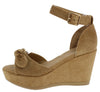 Luxy11 Tan Knotted Peep Toe Ankle Strap Platform Sandal - Wholesale Fashion Shoes