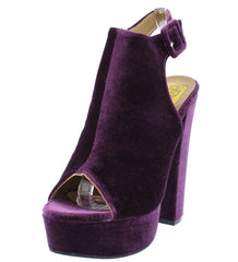 LYDIA07 PURPLE VELVET PEEP TOE CHUNKY PLATFORM HEEL - Wholesale Fashion Shoes