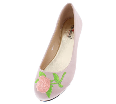 Lynna1 Blush Rose Embroidered Round Toe Slide on Flat - Wholesale Fashion Shoes
