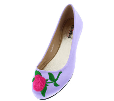 Lynna1 Lilac Rose Embroidered Round Toe Slide on Flat - Wholesale Fashion Shoes