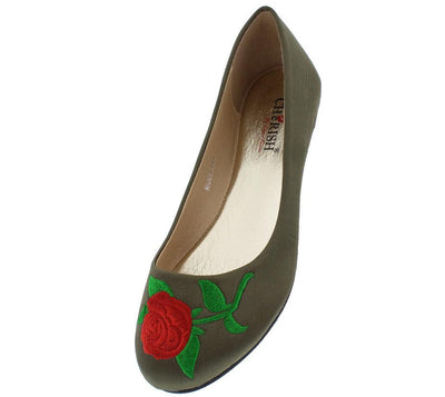 Lynna1 Olive Rose Embroidered Round Toe Slide on Flat - Wholesale Fashion Shoes
