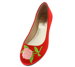 LYNNA1 RED ROSE EMBROIDERED ROUND TOE SLIDE ON FLAT - Wholesale Fashion Shoes