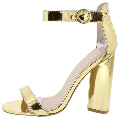 Lyra01 Gold Open Toe Ankle Strap Rear Lace Up Heel - Wholesale Fashion Shoes