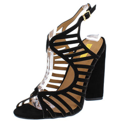 LYRA02 BLACK SUEDE PU STRAPPY OPEN TOE HEEL - Wholesale Fashion Shoes