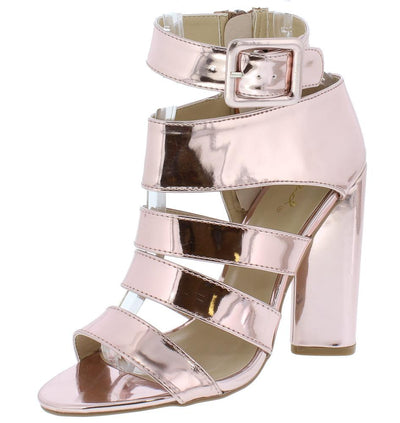 Lyra25 Rose Pink Patent Open Toe Multi Strap Block Heel - Wholesale Fashion Shoes