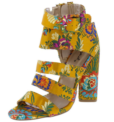 Lyra25 Yellow Floral Open Toe Multi Strap Block Heel - Wholesale Fashion Shoes