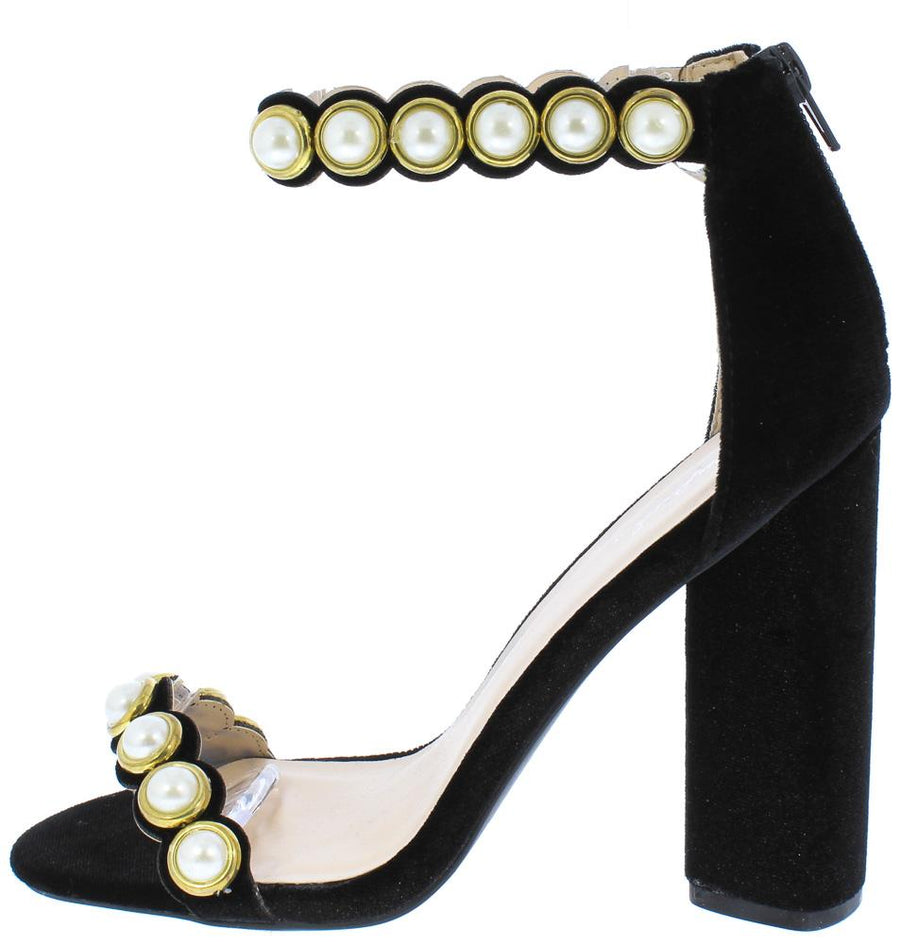 e4b4cc9e5f7 Lyra30 Black Velvet Pearl Stud Open Toe Ankle Strap Heel - Wholesale  Fashion Shoes