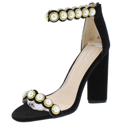 Lyra30 Black Velvet Pearl Stud Open Toe Ankle Strap Heel - Wholesale Fashion Shoes