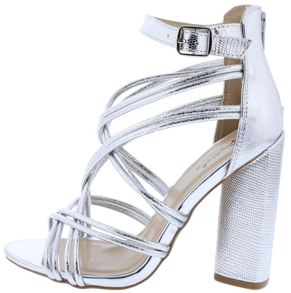 11ead7ee300 Lyra63 Silver Metallic Textured Multi Cross Strap Block Heels  10.88 - Wholesale  Fashion Shoes