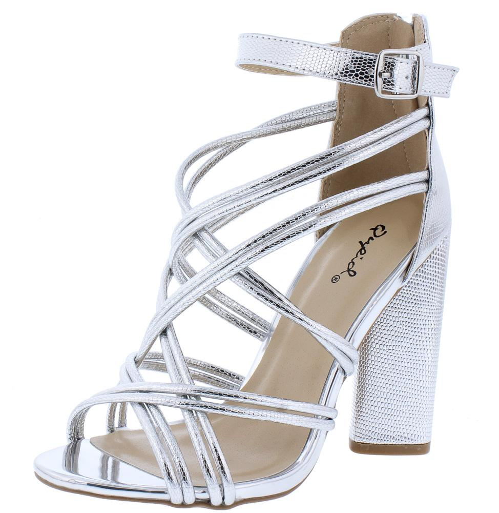 2a87d7fff63 Lyra63 Silver Metallic Textured Multi Cross Strap Block Heel - Wholesale  Fashion Shoes