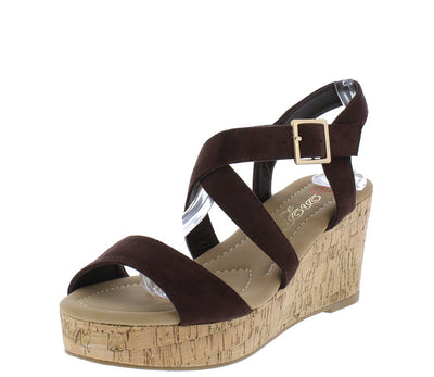 Lyssa2 Brown Open Toe Cross Strap Platform Wedge - Wholesale Fashion Shoes