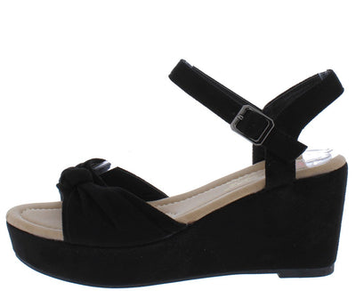 Lyssa6 Black Knotted Open Toe Ankle Strap Platform Wedge - Wholesale Fashion Shoes