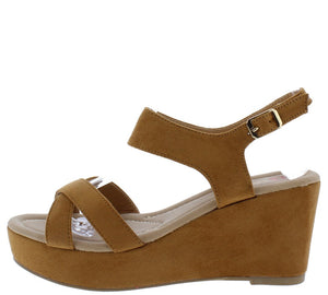 1213db00be1a Lyssa8 Camel Cross Strap Open Toe Low Platform Wedge - Wholesale Fashion  Shoes