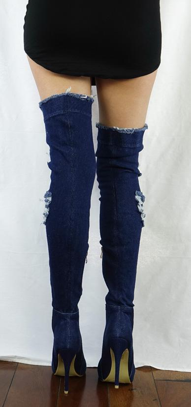 M0167 Dark Denim Fishnet Inset Distressed Over-the-knee Boot - Wholesale Fashion Shoes
