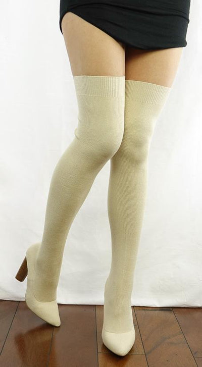 M0516 Nude Over-the-knee Pull on Pointed Toe Sock Boot - Wholesale Fashion Shoes