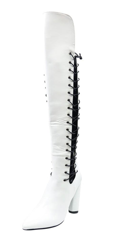 M05234 White Corset Side Panel Over the Knee Boot - Wholesale Fashion Shoes