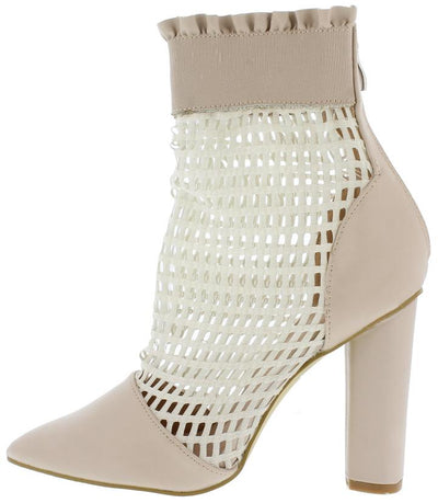M0526 Nude Mesh Pointed Toe Ruffle Ankle Boot - Wholesale Fashion Shoes