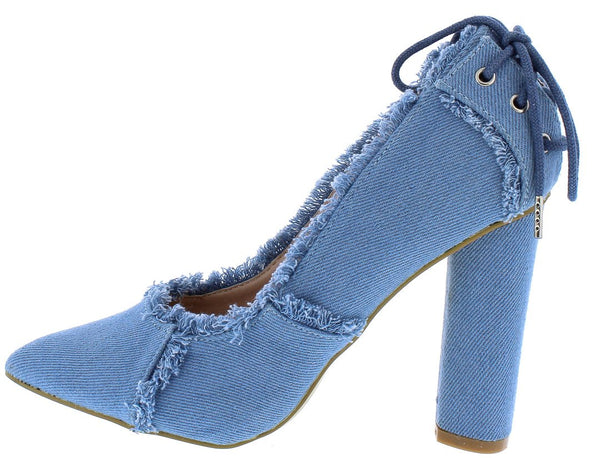 279b667e750 M0532 Light Distressed Denim Rear Lace Up Stacked Heel