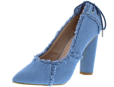 M0532 Light Distressed Denim Rear Lace Up Stacked Heel - Wholesale Fashion Shoes