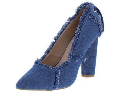 M0532 Blue Distressed Denim Rear Lace Up Stacked Heel - Wholesale Fashion Shoes