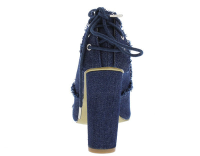 M0532 Dark Distressed Denim Rear Lace Up Stacked Heel - Wholesale Fashion Shoes