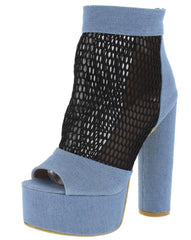 M115 LIGHT BLUE DENIM PEEP TOE MESH BLOCK PLATFORM HEEL - Wholesale Fashion Shoes