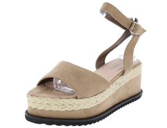 M302 TAUPE SUEDE OPEN TOE ANKLE STRAP BRAIDED HEMP WEDGE - Wholesale Fashion Shoes