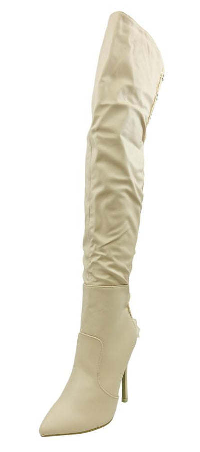 M3327 Nude Rear Eye Hook Lace Thigh High Boot - Wholesale Fashion Shoes