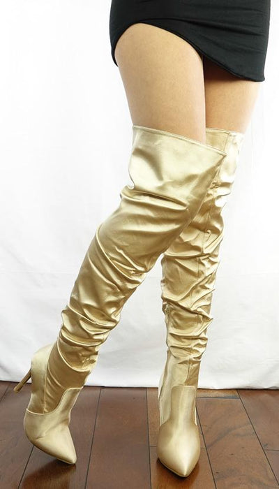M333 Nude Thigh High Satin Stiletto Boot - Wholesale Fashion Shoes