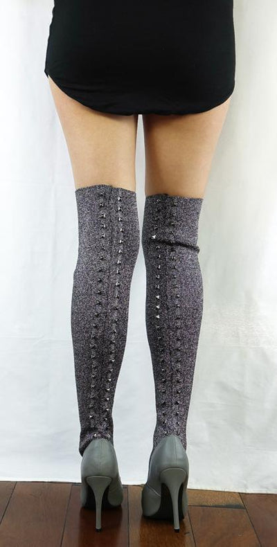M337 Grey Knit Studded Thigh High Pull on Boot - Wholesale Fashion Shoes