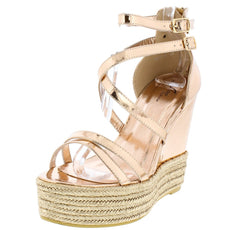 M369 ROSE GOLD WOMEN'S WEDGE - Wholesale Fashion Shoes