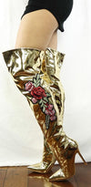 M4812 Gold Metallic Applique Over-the-knee Boot - Wholesale Fashion Shoes
