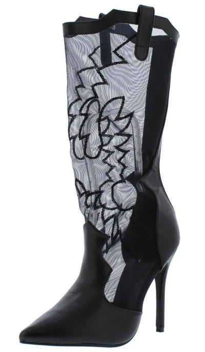 M4816 Black Pointy Toe Stitch Mesh Western Stiletto Boot - Wholesale Fashion Shoes
