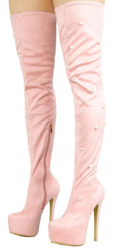 M667 Pink Thigh High Pearl Tall Platform Boot - Wholesale Fashion Shoes