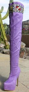 M668 Lilac Embroidered Thigh High Tall Platform Boot - Wholesale Fashion Shoes