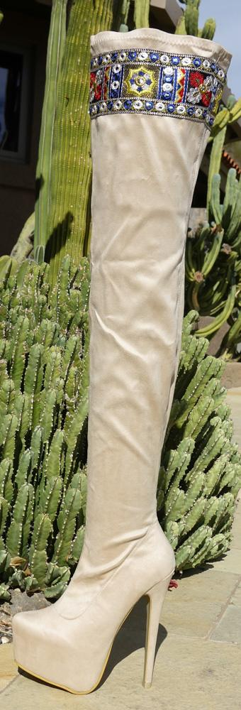 M668 Nude Embroidered Thigh High Tall Platform Boot - Wholesale Fashion Shoes