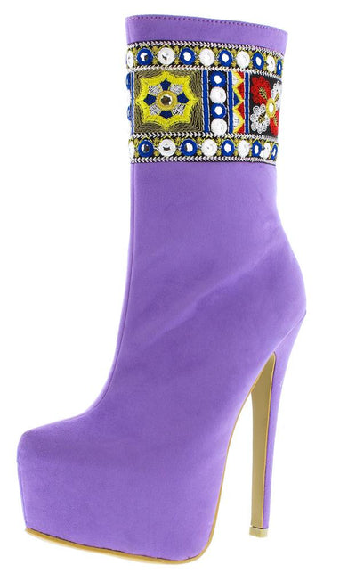 M669 Lavender Embroidered Shaft Tall Platform Boot - Wholesale Fashion Shoes