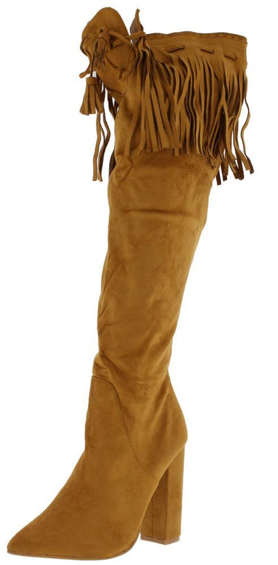 M7311 Tan Suede Pointed Toe Fringe Knee High Boot - Wholesale Fashion Shoes
