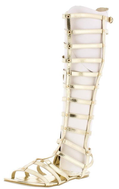 M801 Light Gold Pu Open Toe Knee High Gladiator Boot - Wholesale Fashion Shoes