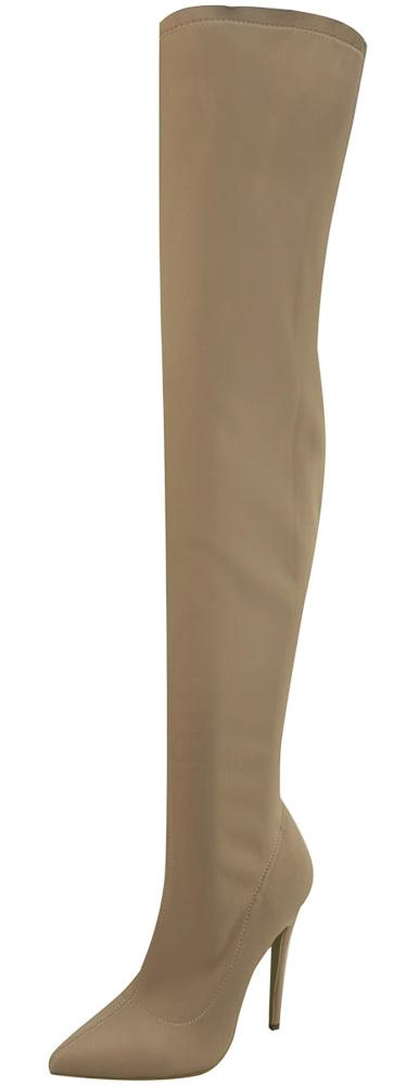 M891 Mocha Pointed Toe Thigh High Sock Fit Boot - Wholesale Fashion Shoes