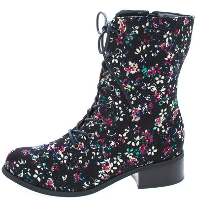Madrid10 Black Floral Multi Color Lace Up Ankle Boot - Wholesale Fashion Shoes