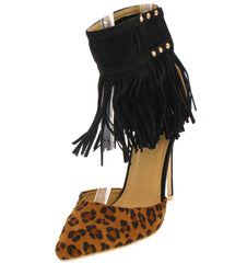 MANDI04 LEOPARD FRINGE ANKLE CUFF POINTED HEEL - Wholesale Fashion Shoes