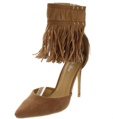 MANDI04 TAUPE FRINGE ANKLE CUFF POINTED HEEL - Wholesale Fashion Shoes