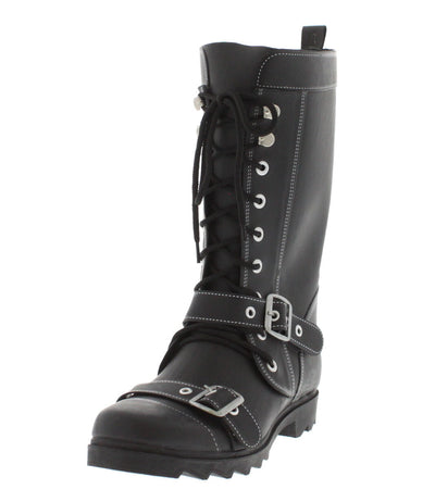 Marsha06 Black Rubber Combat Boot - Wholesale Fashion Shoes