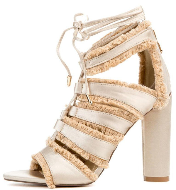 703798fbdff Maura5 Nude Lace Up Strappy Fringe Ankle Wrap Heel