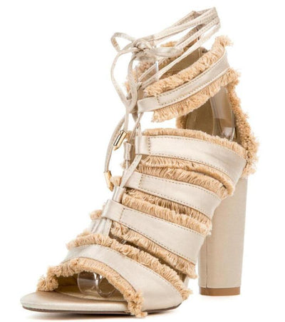 Maura5 Nude Lace Up Strappy Fringe Ankle Wrap Heel - Wholesale Fashion Shoes
