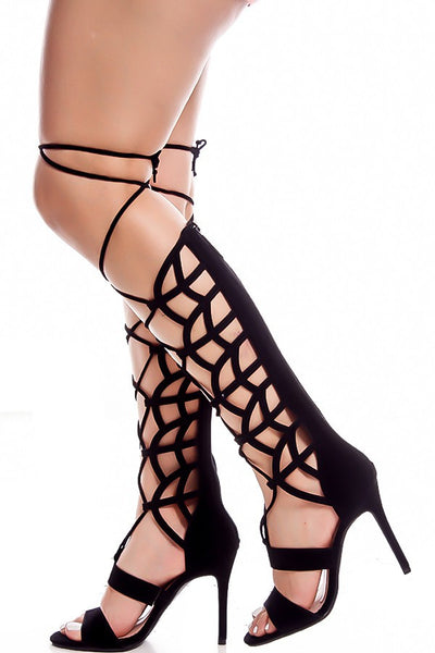 May01 Black Laser Cut Lace Up Wrap Knee High Stiletto Boot - Wholesale Fashion Shoes